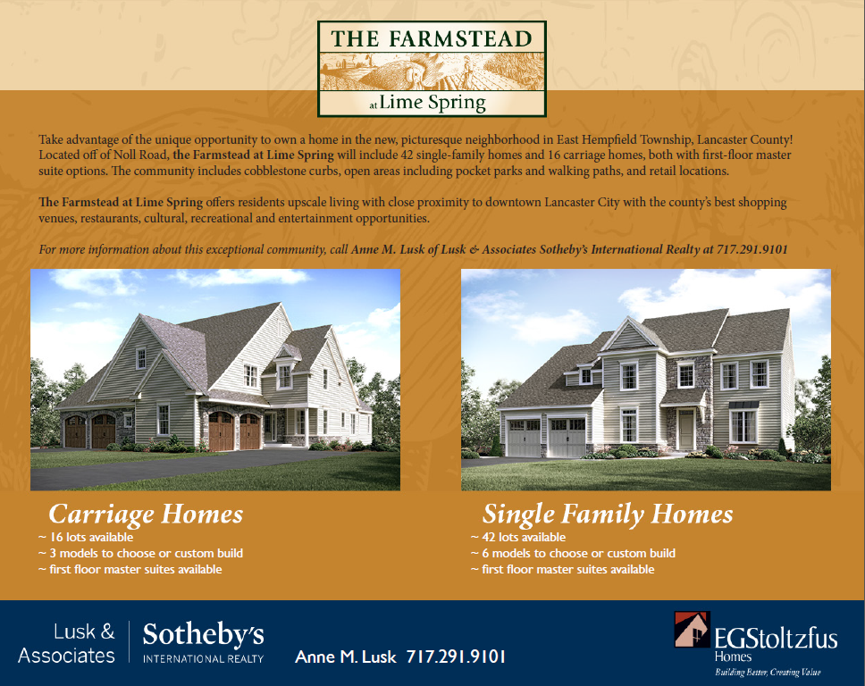 The Farmstead at Lime Spring offers residents upscale living with close proximity to downtown Lancaster City with the county's best shopping venues, restaurants, cultural, recreational and entertainment opportunities.